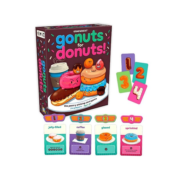 Gamewrigt-Go-Nuts-for-Donuts-card-game-little-Knick-Knacks-Glenbrook-toyshop-family-game-night-fun-educational-strategy-probability
