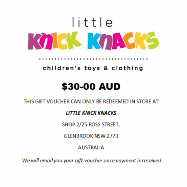 $30 e-gift voucher for in store purchase