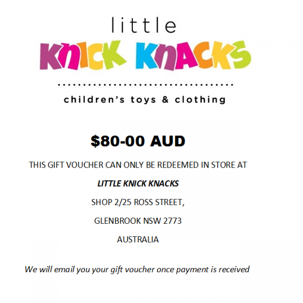 $80 e gift voucher for in store purchase
